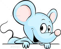 Buy Blue Mouse Peeking Out by hanaschwarz on GraphicRiver. blue mouse peeking out behind white background – vector illustration Cartoon Clip, Owl Cartoon, Art Drawings For Kids, Cute Drawings, Handmade Greeting Card Designs, Spring Animals, Retro Logos, Vintage Logos, Vintage Typography