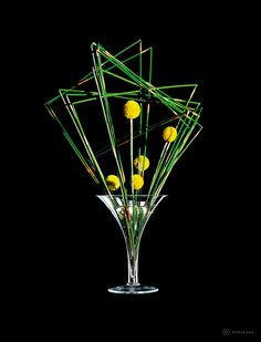 Martini by Humabana. This Ikebana flower arrangement features Horse Tail and Yellow Billy Buttons.
