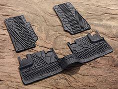 Jeep Wrangler JK Floor Mats (Full set for the Unlimited 4 door. Front set only for the 2 door). Mopar with Jeep Logo.