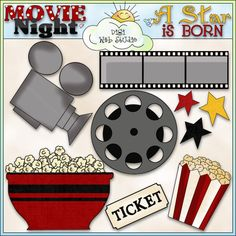 Movie Night 1 - NE Cheryl Seslar Clip Art : Digi Web Studio, Clip Art, Printable Crafts & Digital Scrapbooking!