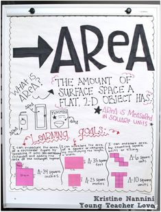 Differentiated Area Anchor Chart (plus freebies!) - Young Teacher Love by Kristine Nannini Math Charts, Math Anchor Charts, Math Resources, Math Activities, Math Games, Elementary Math, Upper Elementary, Maths Area, Area And Perimeter