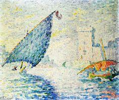 'Marseille, bateaux de pêche', huile sur toile de Paul SIGNAC (1863-1935)