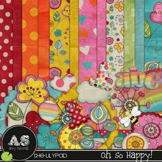 Quality DigiScrap Freebies: Oh So Happy full kit freebie from Amy Sumrall- this has a groovy feel to it too because of it's colors.