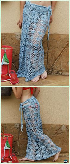 Crochet Beach Flowers Skirt Free Pattern by Brenda Grobler - Crochet Women Skirt Free Patterns