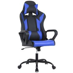 Gaming Office Chair, High-Back Racing Chair PU Leather Chair Reclining Computer Desk Chair Ergonomic Executive Swivel Rolling Chair with Adjustable Arms Lumbar Support for Women, Men(Blue) Chaise Gaming, Pc Gaming Chair, Computer Desk Chair, Office Chair Back Support, High Back Office Chair, Mesh Office Chair, Office Desk, Office Chairs, Office Furniture