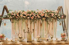 #ladder #backdrop #ribbongarland ceremony decoration by www.weddingflowersincornwall.co.uk photography by Ben Selway