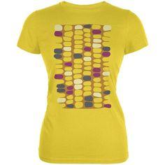 Halloween Indian Flint Corn Costume Juniors Soft T Shirt Yellow X-LG