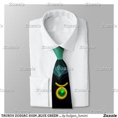 TAURUS ZODIAC SIGN ,BLUE GREEN FRACTAL SWIRLS NECK TIE  #fashion #zodiacalsigns #birthdayparty #astrology #ties #3d