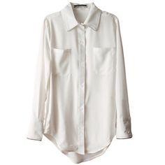 Women Casual Trim Lapel Long Sleeve Chiffon Shirt Blouse Top Black/White Qxo