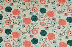 Stoff Blumen - 930 Jersey Blumen Cremeweiß Mint Coralle  - ein Designerstück von pretty-child bei DaWanda