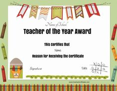 Free School Certificates & Awards intended for Best Teacher Certificate Templates Free - Best Business Templates Certificate Of Achievement Template, Free Printable Certificates, Gift Certificate Template, Award Certificates, Certificate Of Appreciation, Teacher Appreciation, Senior Superlatives, Student Of The Month, Teacher Awards