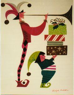 Christmas card art ~ Ralph Hulett