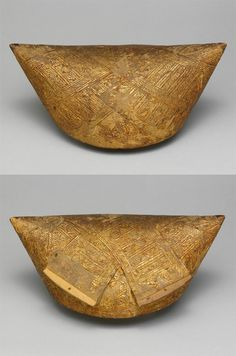 Indonesia ~ Sumatra | Woman's headdress from the Minangkabau people | Wood and gold leaf | 19th to early 20th century