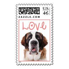 Love Saint Bernard Puppies Dog US Postage Stamps