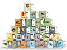 Gorgeous Ladybird ABC mugs by Whitbread Wilkinson - coming soon! Alphabet Mugs, Balloon Cake, Ladybird Books, China Mugs, Book Design, Make It Simple, Balloons, Colour, Templates