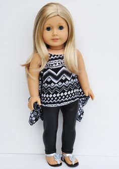 American Girl Clothes - Tribal Print Twirly Top, Black Liquid Leggings, Berry…