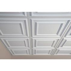Ceilume - Cambridge White Ceiling Tile, 2 Feet x 2 Feet Lay-in or Glue up - V3-CAMB-22WTO - Home Depot Canada
