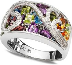 Love the design of this sterling silver diamond and multi gem swirl ring!