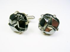 Sarah Coventry Cufflinks silver tone Hematite by unclesteampunk