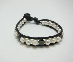 Single Leather Wrap Bracelet Stardust beads and by AlexisLjewelry