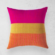 Modern Yellow and Pink Throw pillow – Mora - Citrus - Bolé Road Textiles