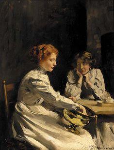 At the kitchen table, Thomas Benjamin Kennington. English (1856 - 1916)