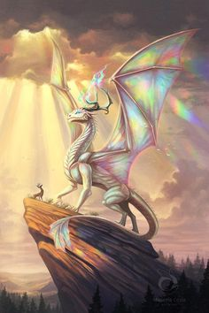 """Rainbow Dragon, because """"chromatic or metallic?"""" is just getting old [Art] [OC] : DnD Cute Fantasy Creatures, Mythical Creatures Art, Mythological Creatures, Magical Creatures, Dark Fantasy Art, Fantasy Artwork, Mythical Dragons, Mystical Animals, Creature Drawings"""