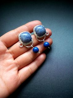 Dumortierite and lapis lazuli earrings in sterling silver (click to see the photo journal of the making)