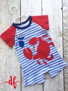 Crab Raglan One piece infant kit, Summer, crab, fishing, baby boy, little boy outfit by DashForward on Etsy