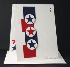 handmade card: Red, White, Blue with Shapes by Rox71 ...luv the strong graphic look ... stars and stripes ... no stamping .. clean and elegant ... luv it!!