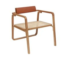Armchair, oak frame with backrest in bull calfskin and seat in cane, fawn colour L 60 x H 65.4 x D 66.5 cm