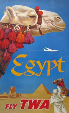 Egypt Fly TWA  Item #: TRV-2092  Category: Travel  Artist: David Klein  Circa: 1958  Origin: USA  Dim: 24 3/4 x 40 1/2 in.