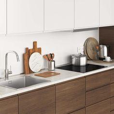 Ikea Metod Kitchen, Walnut Kitchen Cabinets, Ikea Kitchen Design, Kitchen Units, Home Decor Kitchen, Kitchen Furniture, Kitchen Interior, Home Kitchens, Ikea Kitchen Planning