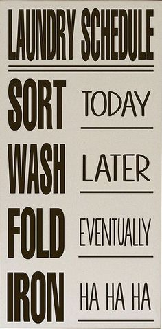 Laundry Schedule Wall Art //