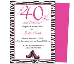 Create Your Own 40th Birthday Party Invitations Print Download Send Online Or Order Printed