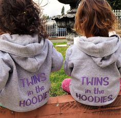 Got twins in your hood? Twins hoodies set. Blue, red or purple words on gray zippered jackets. Awesome twins gift. Twins clothing: 12 mo-4T