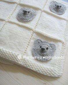 Copertina orsetti baby neonato - copertina culla in pura lana merino -  ferri e uncinetto 84a0350c4a5a