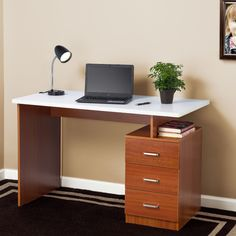 Fineboard Computer Desk with 3 Drawer Finish: Cherry/White