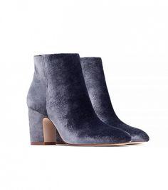 Zara High Heel Velvet Ankle Boots