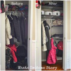 17 New ideas coat closet organization diy garage Small Coat Closet, Small Closet Storage, Bedroom Closet Storage, Front Closet, Tiny Closet, Small Closets, Wardrobe Storage, Apartment Closet Organization, Diy Organization