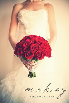 Red roses wedding bouquet flowers McKay Wedding Photography Sydney - http://www.mckayphotography.com.au
