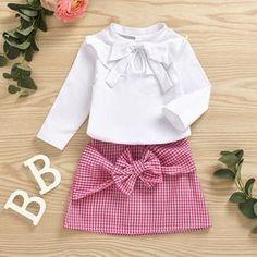 White Baby Toddler Bow Decor Long Sleeve T Shirt And Gingham Skirt Set Shirt Skirt, Dress Skirt, Skirt Set, Skirt Outfits, Fall Outfits, Gingham Skirt, Toddler Bows, Cute Princess, Bow Tops
