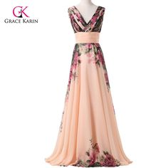 Grace Karin Flower Print Long Prom Dresses 2017 Chiffon Padded Gowns Women Prom Evening Dresses special occasion dresses 7502