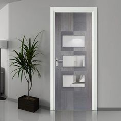 Bespoke Apollo Chocolate Grey Door with Clear Safety Glass - Prefinished - Lifestyle Image. Doors, Contemporary Decor, Door Fittings, Internal Doors, Contemporary Interior, Contemporary Doors, Door Design, Grey Internal Doors, Doors Interior