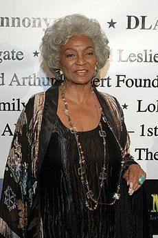 Nichelle Nichols (born Grace Dell Nichols on December is an American actress,singer and voice artist. Her most famous role is that of communications officer Lieutenant Uhura aboardthe USS Enterprise in the popular Star Trek Beautiful Black Women, Amazing Women, Beautiful People, Women In History, Black History, Nichelle Nichols, African American Women, Before Us, Celebs