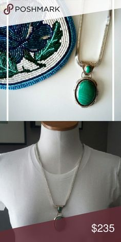 """Vintage Malachite Necklace Beautiful 2.5"""" malachite cabachon pendant and smaller stone on the bail,  set in sterling silver, stamped sterling on the back.  Hanging from an unusual, thick, 24"""" vintage sterling silver square snake chain (4mm), which is unmarked.   Pendant & chain total weight: 54.5g Jewelry Necklaces"""