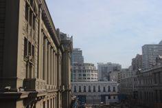 Palacio de Tribunales desde el Museo de Arte Precolombino. Santiago Centro. Mayo 2014.