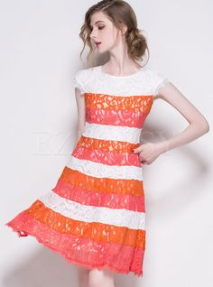 Shop for high quality Lace Embroidery Color Block Dress online at cheap prices and discover fashion at Ezpopsy.com