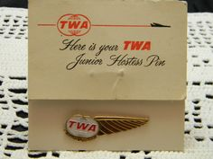 Vintage TWA Junior Hostess Pin metal with original card.