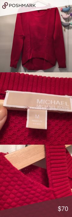 MICHAEL KORS Red Sweater Cold shlulder, worn only a few times. Michael Kors Sweaters